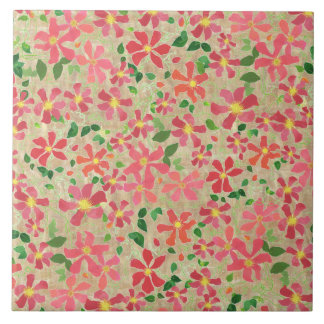Clematis Pink, Red, Orange Floral Pattern on Taupe Tile