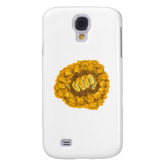 Clenched Fist Breaking Brick Stone Wall Drawing Galaxy S4 Cases