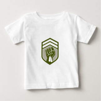 Clenched Fist Dogtag Crest Retro Baby T-Shirt