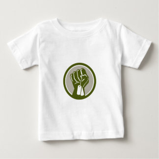 Clenched Fist Holding Dogtag Circle Retro Baby T-Shirt