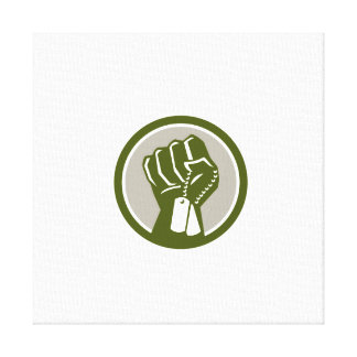 Clenched Fist Holding Dogtag Circle Retro Canvas Print