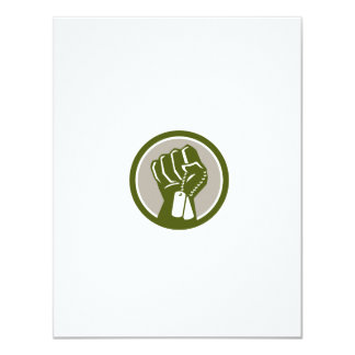 Clenched Fist Holding Dogtag Circle Retro Card