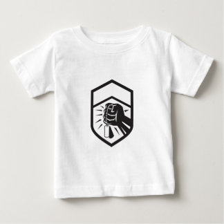 Clenched Fist Holding Dogtag Crest Retro Baby T-Shirt