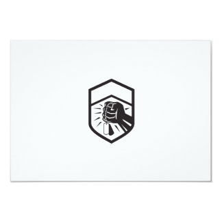 Clenched Fist Holding Dogtag Crest Retro Card