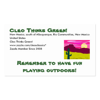 Cleo Thinks Green - Play outdoors Pack Of Standard Business Cards