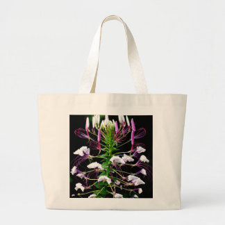 Cleome Hassleriana Spider Flower Purple Floral Large Tote Bag