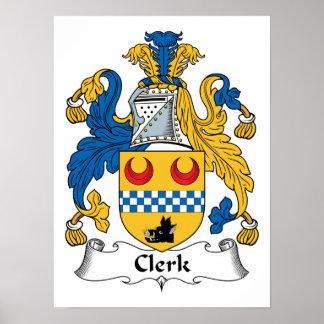 Clerk Family Crest Posters