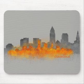 Cleveland City U.S. skyline watercolor B7W - Color Mouse Pad