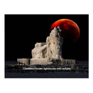 Cleveland frozen lighthouse postcard