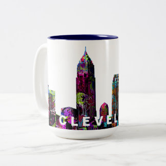 Cleveland graffiti Two-Tone coffee mug