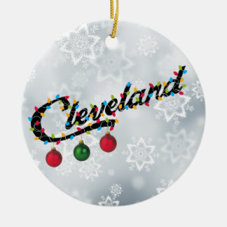 Cleveland in Lights Round ornament PERSONLIZE IT!