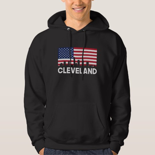 Cleveland OH American Flag Skyline Hoodie