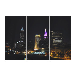 Cleveland OH Purple Skyline Canvas Print