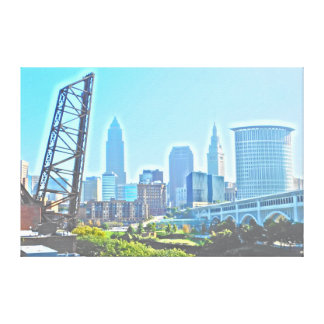 Cleveland, Ohio Blue Morning Skyline Canvas Print
