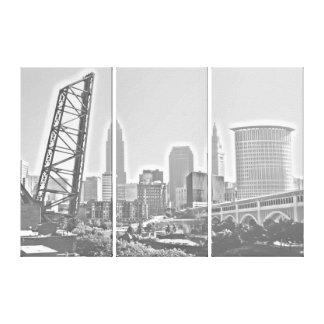 Cleveland, Ohio BW Panels Morning Skyline Canvas Print