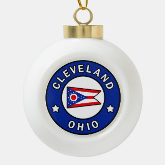 Cleveland Ohio Ceramic Ball Christmas Ornament
