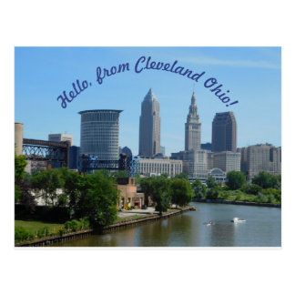 Cleveland Ohio (Curved Text) Skyline Postcard