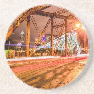 cleveland ohio downtown bridge at night drink coaster