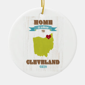 Cleveland, Ohio  Map – Home Is Where The Heart Is Round Ceramic Decoration