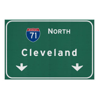 Cleveland Ohio oh Interstate Highway Freeway : Poster
