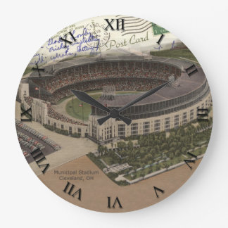 Cleveland Ohio Post Card Clock - Municipal Stadium