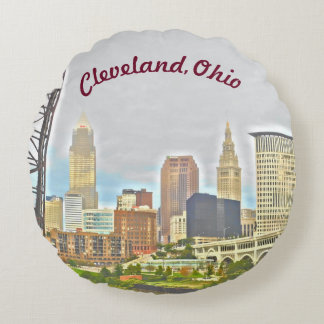 Cleveland, Ohio River Skyline Round Pillow