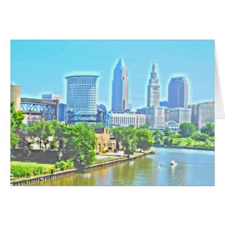 Cleveland, Ohio River View Greeting Card