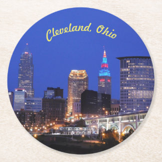 Cleveland, Ohio River View Paper Coaster