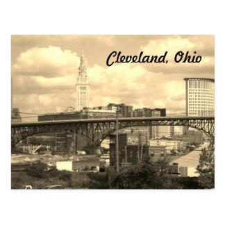 Cleveland Ohio Sepia Skyline Postcard
