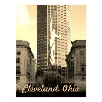Cleveland Ohio Sepia Statue Postcard