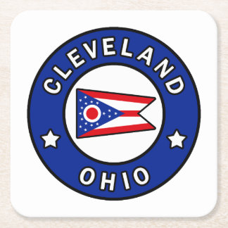 Cleveland Ohio Square Paper Coaster