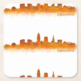 Cleveland Ohio the USA Skyline City v02 Square Paper Coaster