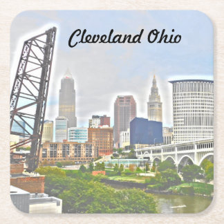 Cleveland River View(Paint Effect) Coaster