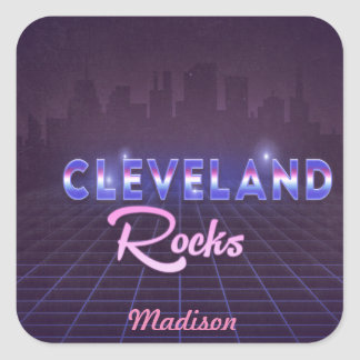 Cleveland Rocks 80's Style Square Stickers