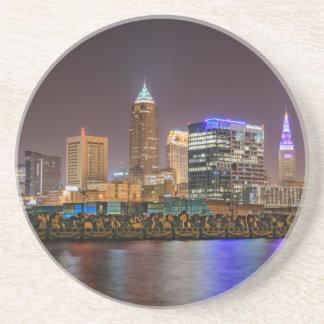 Cleveland Skyline at Night Beverage Coaster