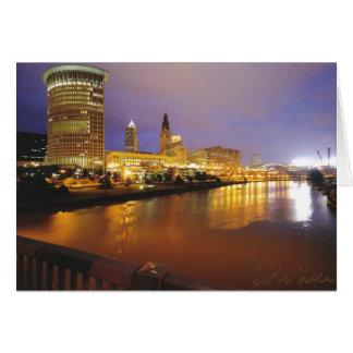Cleveland Skyline at Night Card