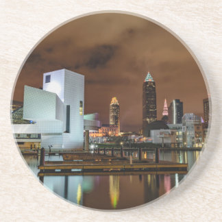 Cleveland Skyline at Night Drink Coaster