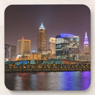 Cleveland Skyline at Night Drink Coasters