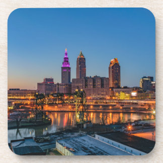Cleveland Skyline at Sunset Beverage Coaster