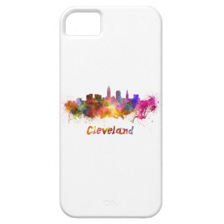 Cleveland skyline in watercolor iPhone 5 cover