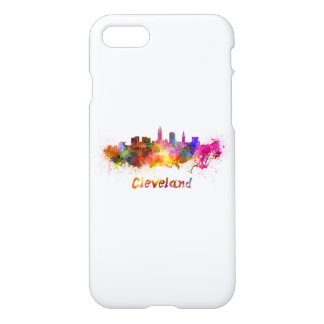 Cleveland skyline in watercolor iPhone 7 case