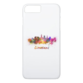 Cleveland skyline in watercolor iPhone 7 plus case