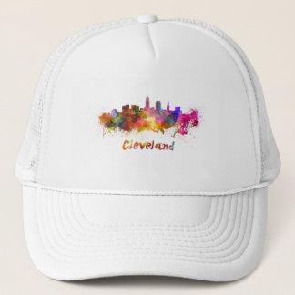 Cleveland skyline in watercolor trucker hat