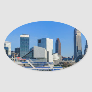 Cleveland Skyline Oval Sticker