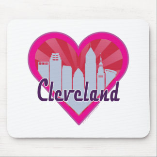 Cleveland Skyline Sunburst Heart Mouse Pad