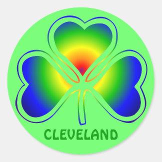 Cleveland St. Patrick's Day Shamrock Rainbow Round Sticker
