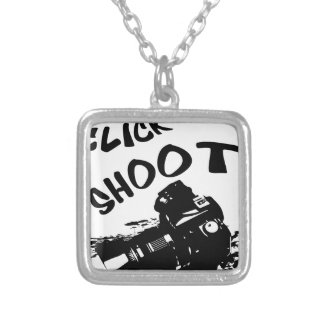 Click click shoot silver plated necklace