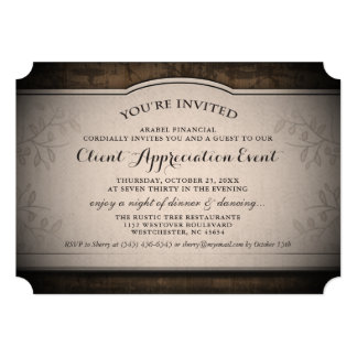 Client Appreciation Event Custom Rustic Invitation
