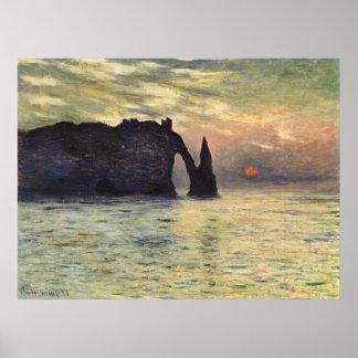 Cliff Etretat Sunset by Claude Monet Vintage Art Posters