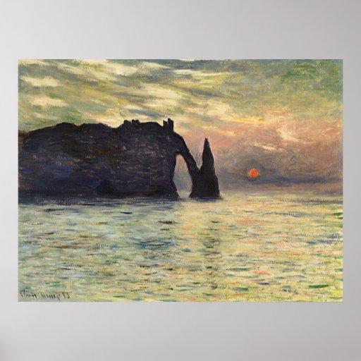 Cliff, Etretat, Sunset by Claude Monet Vintage Art Posters